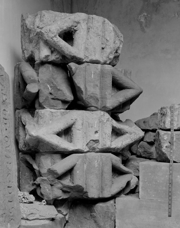 Dog-tooth moulding in the Cathedral Museum, St Andrews.