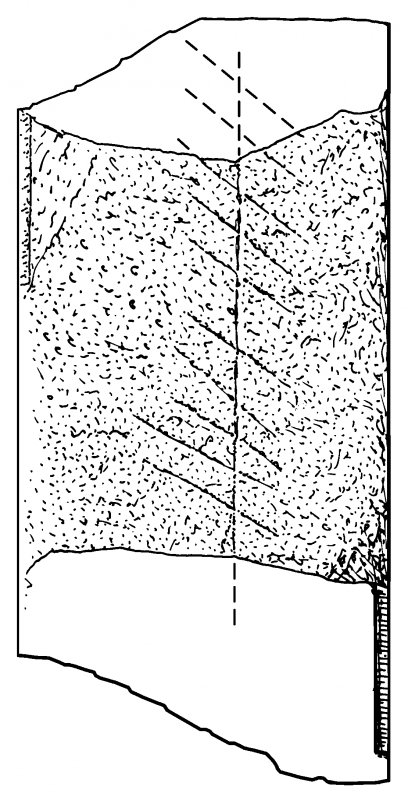 Scanned ink drawing of ogham inscription on St Vigeans 6 freestanding cross fragment.
