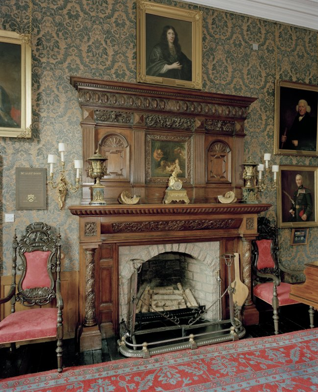 Leith Hall, interior.  First floor. Music-room: detail of fireplace