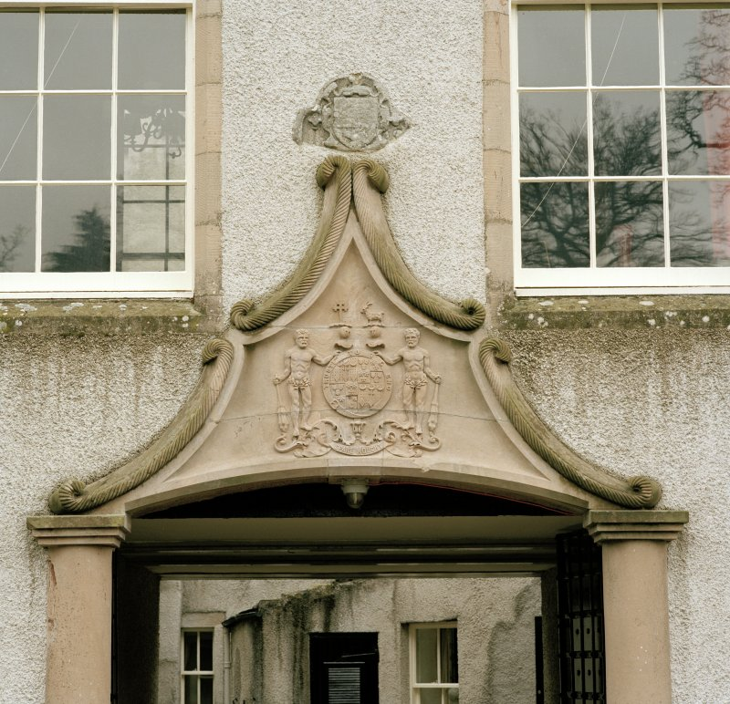 Leith Hall, exterior.  West range entrance pend: detail of pediment