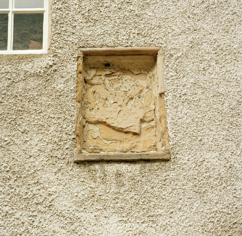 Leith Hall, exterior.  Courtyard: detail of panel on North wall