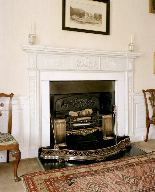 Leith Hall, interior.  First floor. Dining room: detail of fireplace