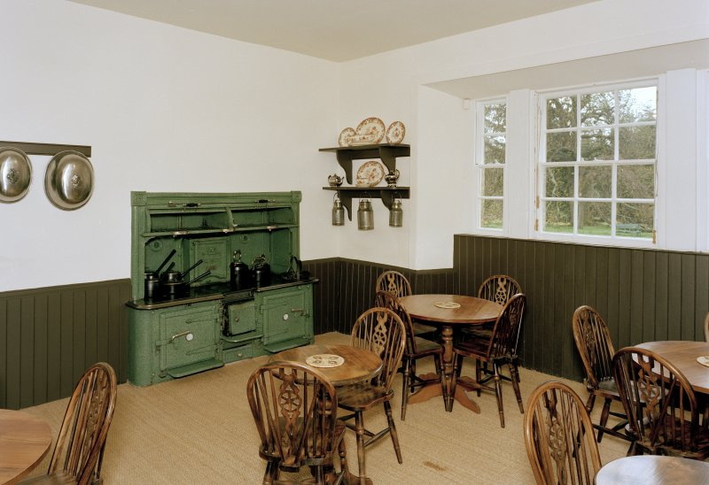 Leith Hall, interior.  Ground floor. Kitchen/Tea room: view from South West