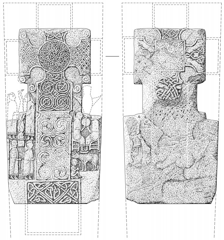Scanned ink drawing of face and reverse of cross-slab (St Vigeans no.7).