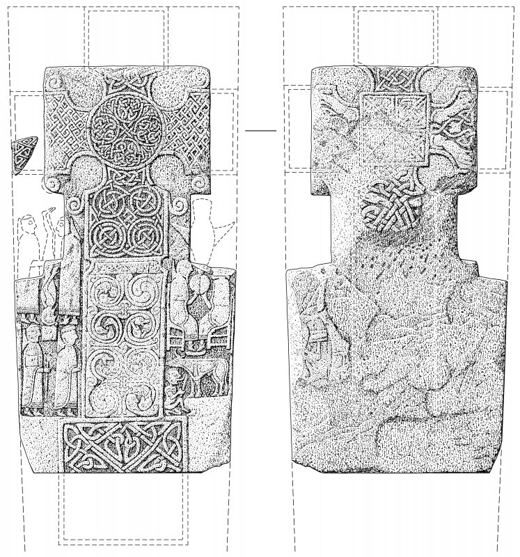 Ink drawing of reverse and face of cross-slab (St Vigeans no.7),with conjectural reconstruction with missing fragment (St Vigeans no.26).