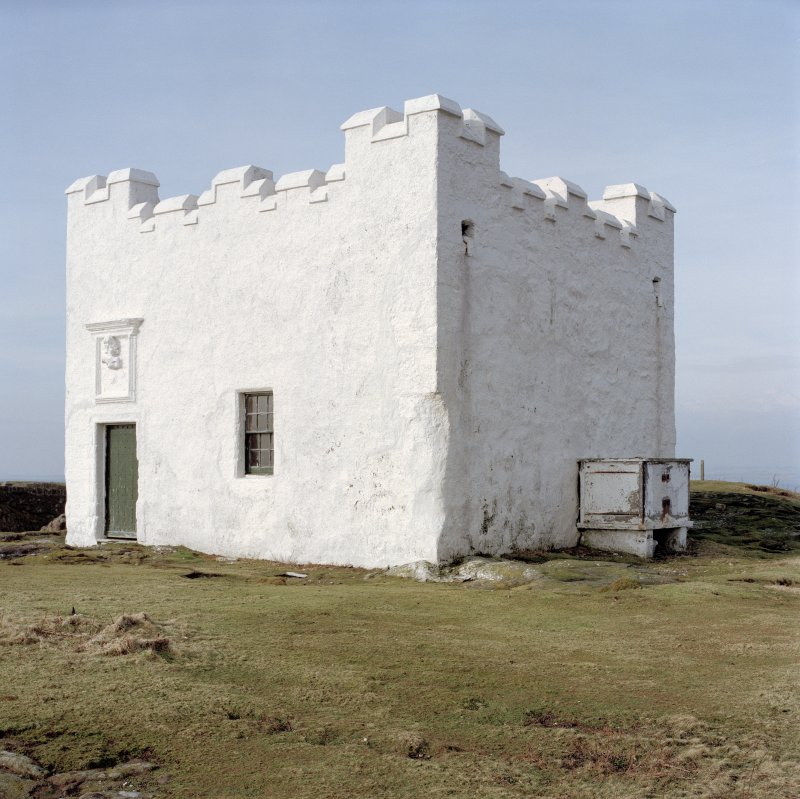 This early example of a lighthouse from 1636 is situated on the highest point of the Isle of May. It is a small square tower with later parapet. View from East.