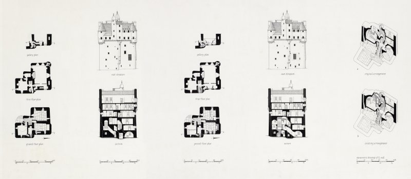Drawing showing existing arrangements of windows, and arrangements of windows after the harling was removed.