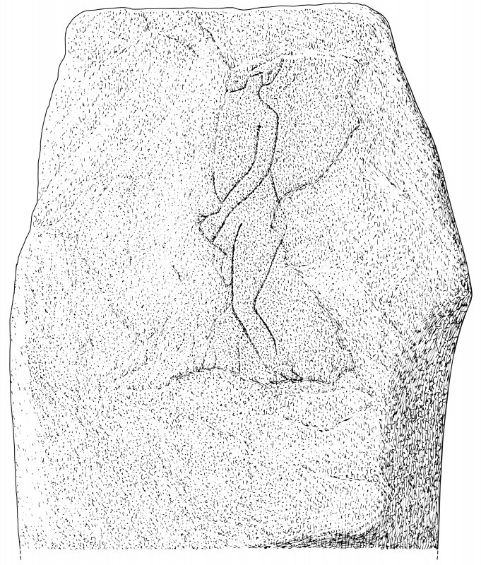 Scanned ink drawing of Westerton incised stone.