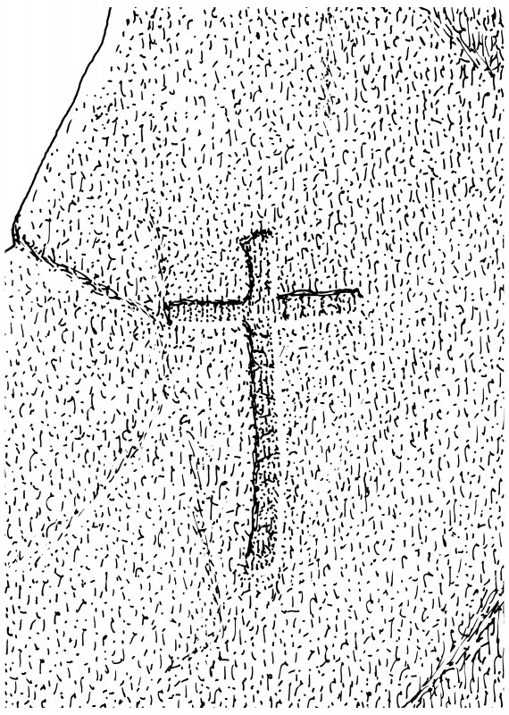 Scanned ink drawing of incised cross