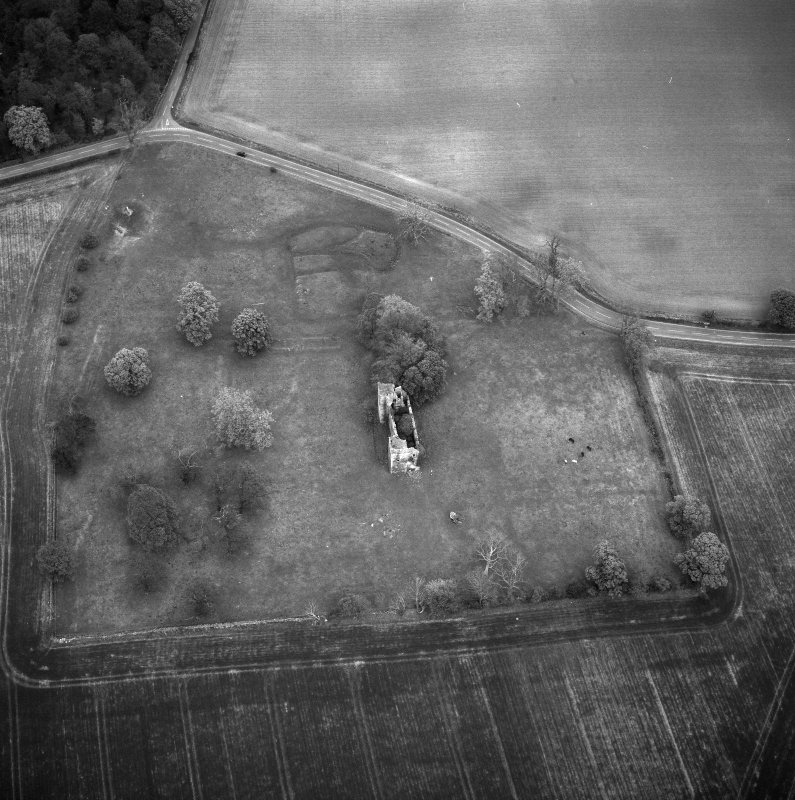 Oblique aerial view showing Duntarvie Castle.