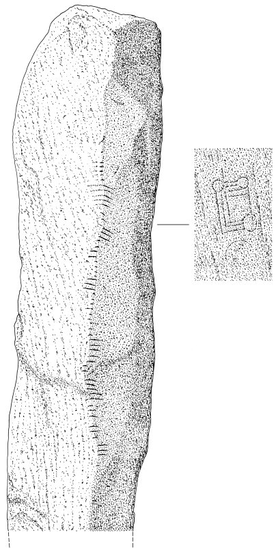 Scanned ink drawing of Auquhollie ogham inscribed stone including incised 'symbols'.