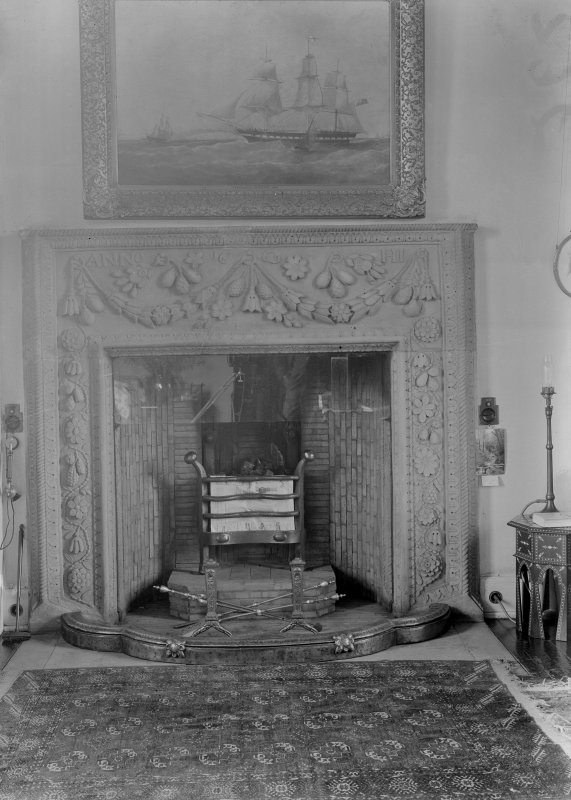 Drawing room fireplace dated 1669; originally in a house in Culross.