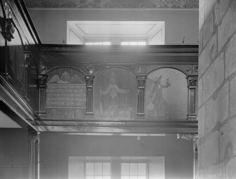 Interior - paintings on gallery front, south
