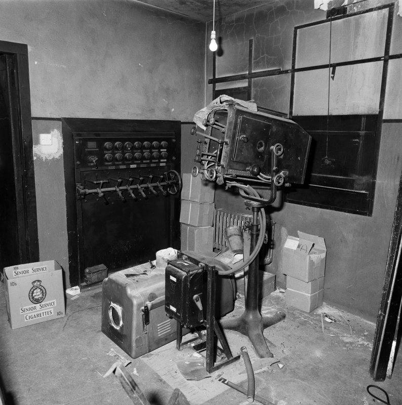 Interior view of the Regal Cinema, Broxburn, showing detail of projection room.