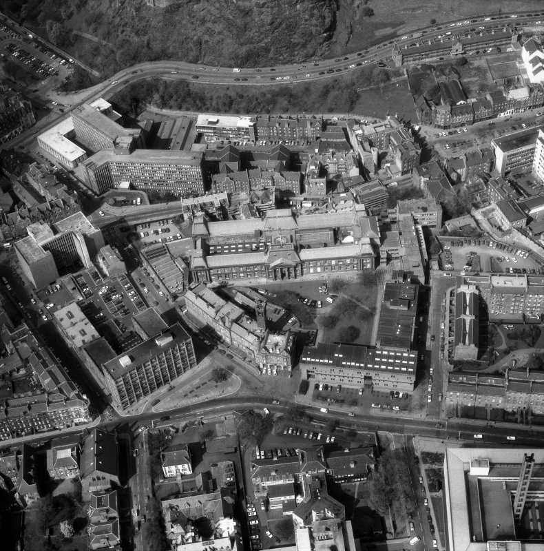 Oblique aerial view of Lauriston Place, showing  Edinburgh College of Art and 3, Lady Lawson Street, Argyle House.
