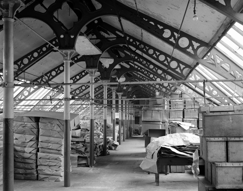 Perth, Pullar's Dyeworks, interior. Digital cop  y of view of fireproof block showing cast iron columns and beams, attic floor.