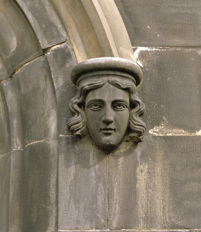 Ground floor, west window, detail of corbel head South Leith Parish Church, Edinburgh