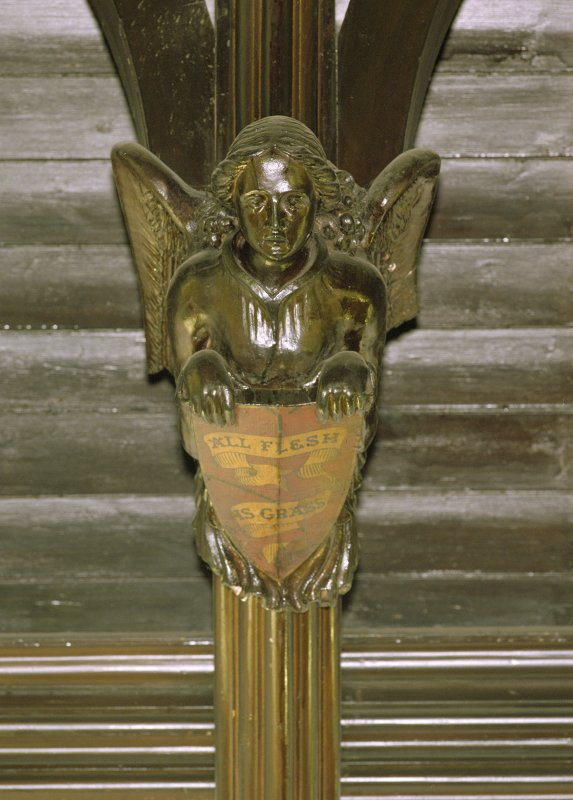 Interior, detail of angel with shield on hammerbeam roof