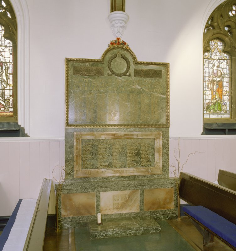 Interior, north aisle, view of war memorial