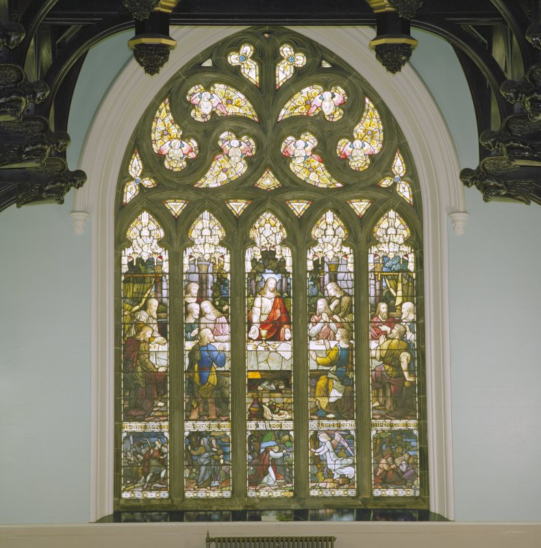 Interior, detail of stained glass window at east end