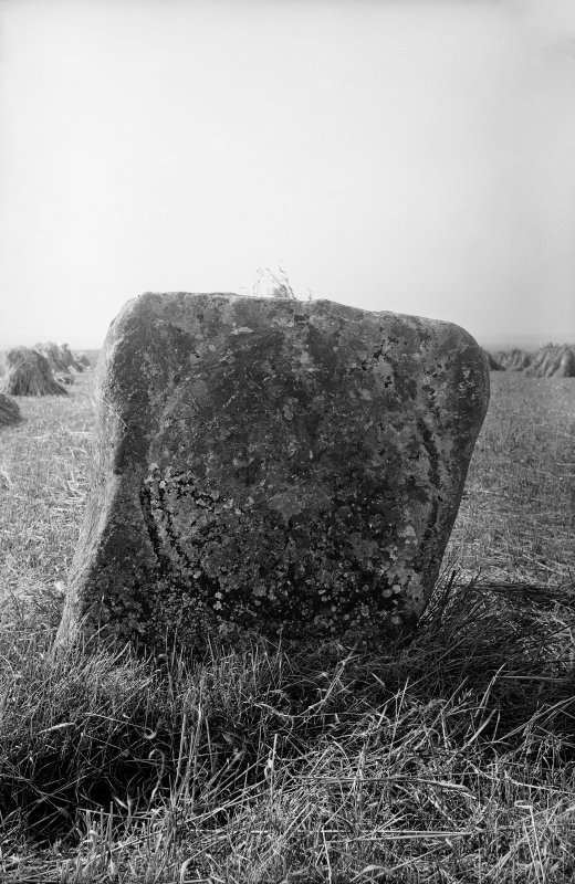View of carved face of Skeith Stone.