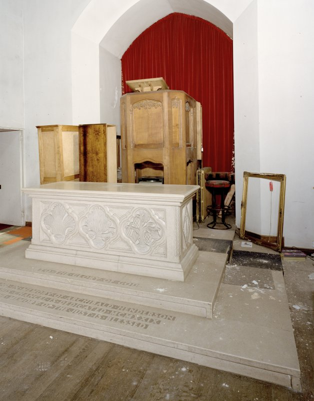 Interior. Detail of pulpit and communion table