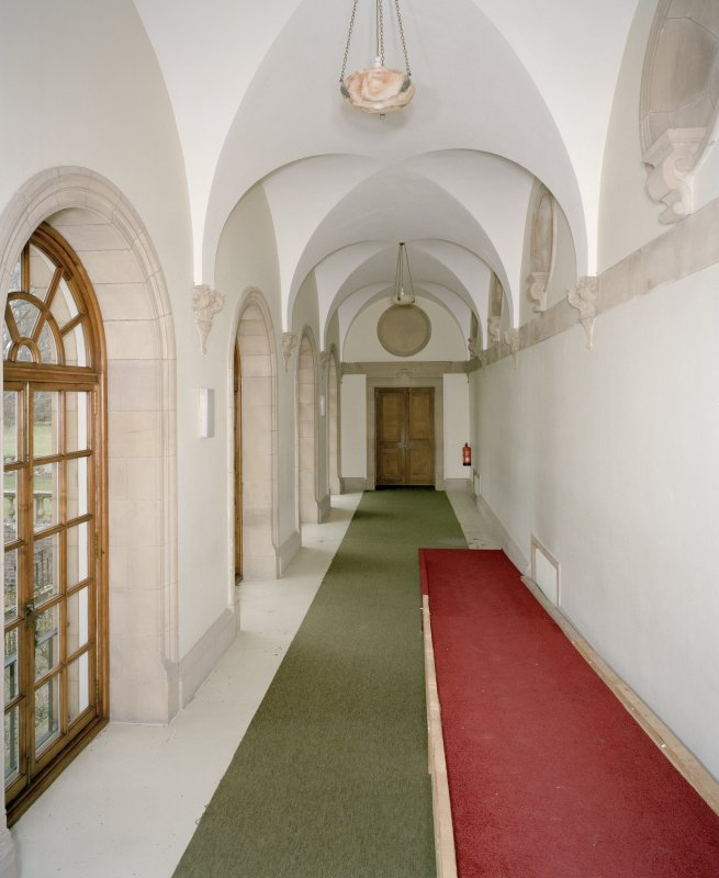 Interior. Main floor, view of music room corridor from S