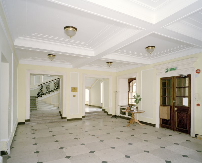 Interior. Basement floor, view of entrance hall from S