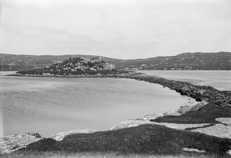 General view of broch and causeway.