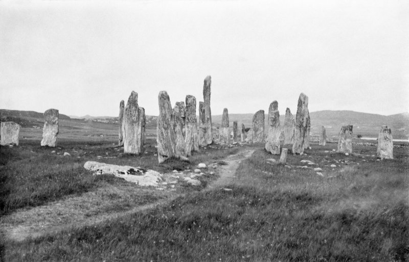 View from south. Original mounted photograph annotated by Erskine Beveridge ' The Callernish Stones, from S'.  From the RCAHMS Society of Antiquaries of Scotland Collection MS/36/209.