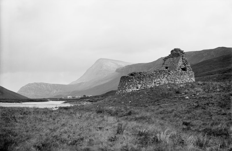 General View of Broch with cottages in the distance