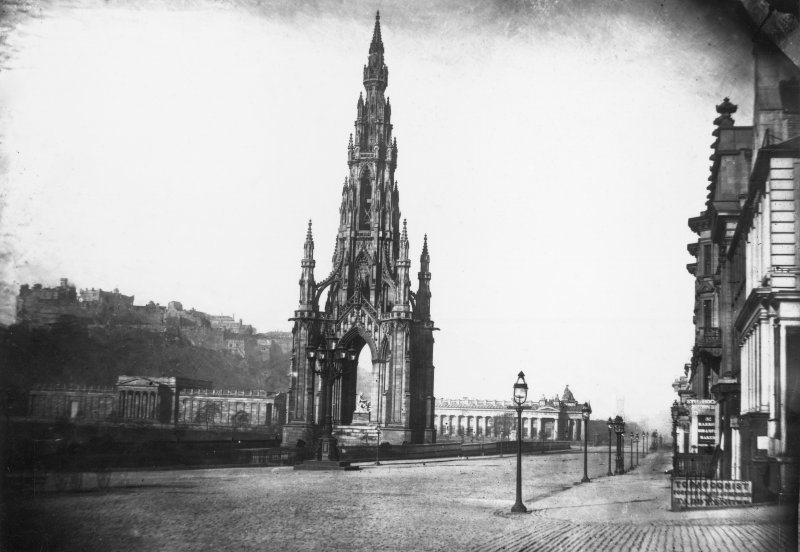 Edinburgh, Scott Monument and Princes Street View from east of Scott Monument, also showing the Mound and Castle