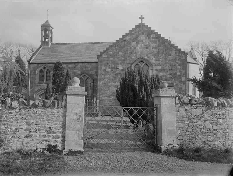 View from churchyard gate from N.