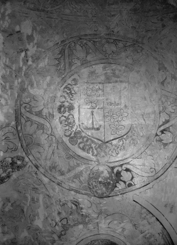 Interior. Detail of coat of arms in N room.