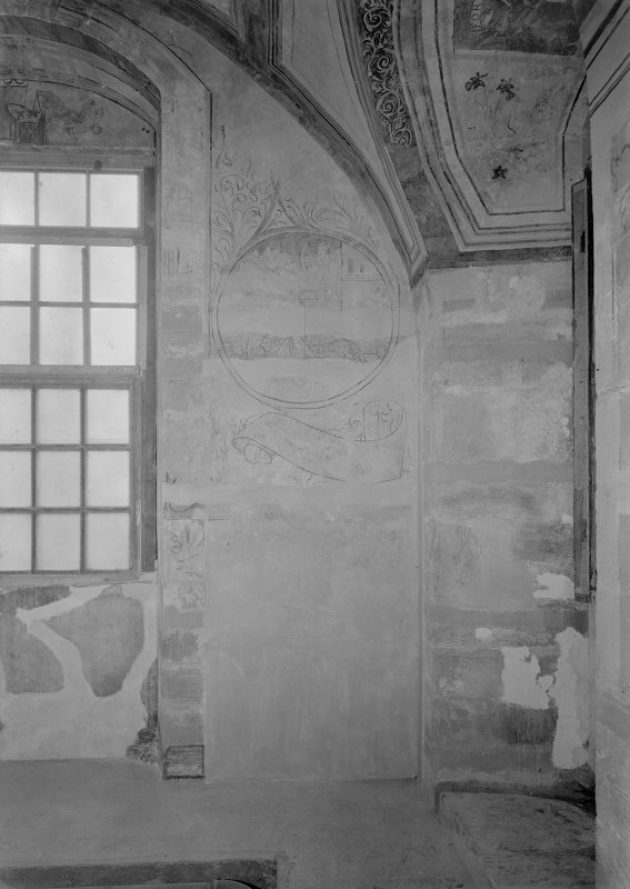 Interior. Detail of painting to side of window in N room.