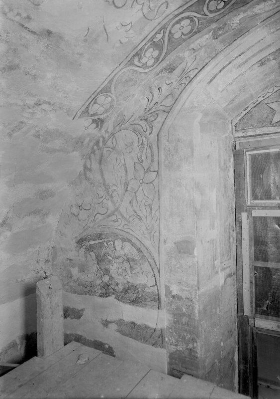 Interior. View of painted wall next to window in N room.