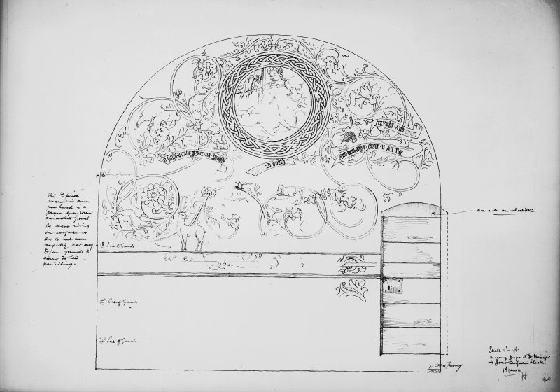 Interior. Photographic copy of drawing of wall decoration in N room.
