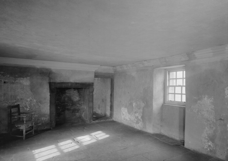 Glasgow, Auchinlea Road, Provan Hall, interior. View of fireplace, with doorway to left.