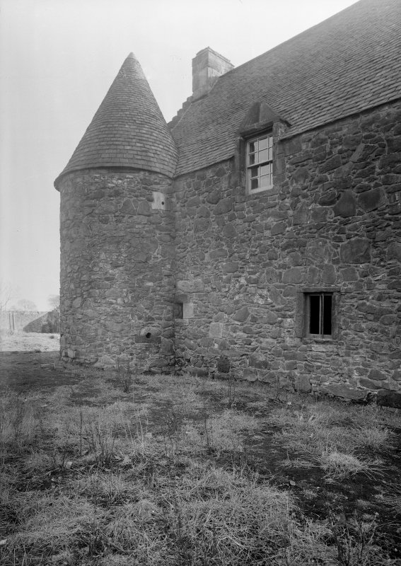 Glasgow, Auchinlea Road, Provan Hall. General view of corner tower from North-West.