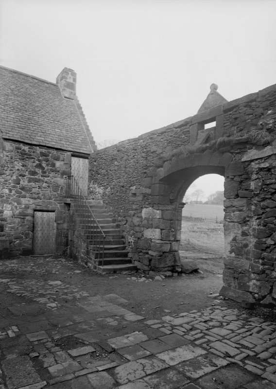 Glasgow, Auchinlea Road, Provan Hall. General view of interior of courtyard from South-West.