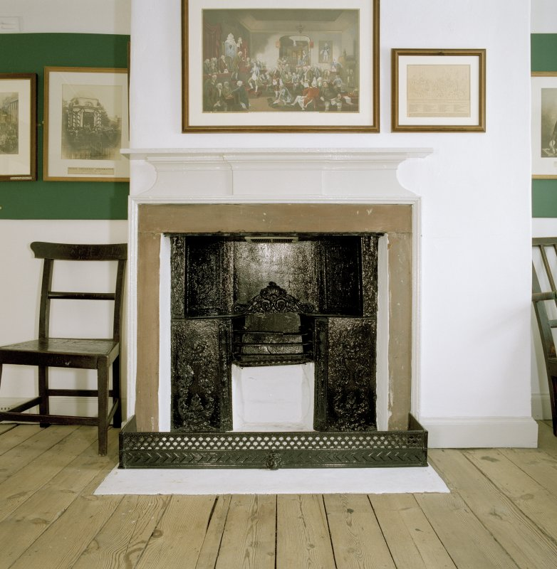 Interior. 1st. floor, S room, detail of fireplace