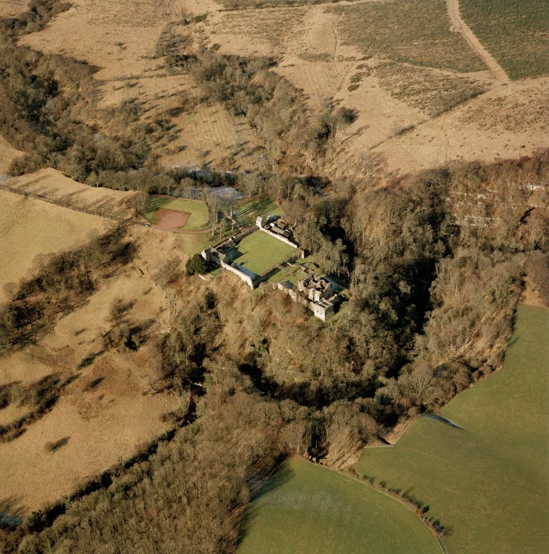 Craignethan Castle, oblique aerial view, taken from the SE.