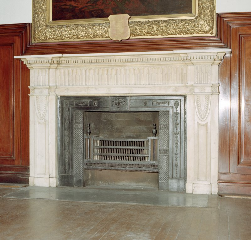 Trades House, interior Banqueting Hall, detail of North fireplace