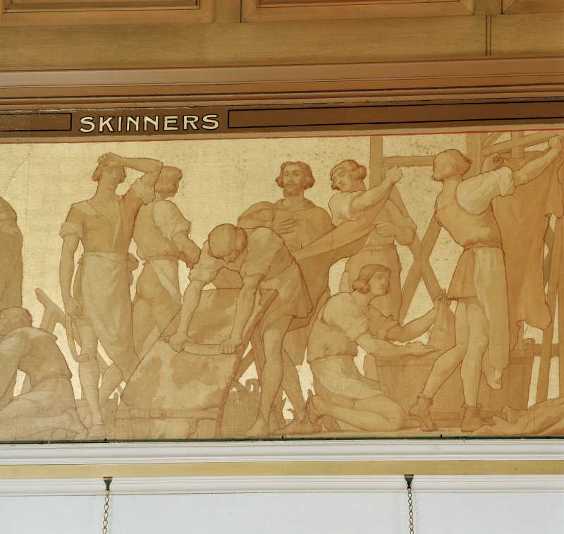 Trades House, interior Banqueting Hall, detail of silk frieze