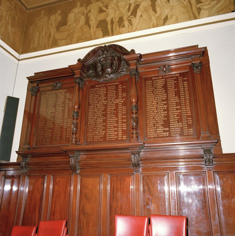 Trades House, interior Banqueting Hall, detail of wooden panel listing Deacon Convenors 1604 - 1740