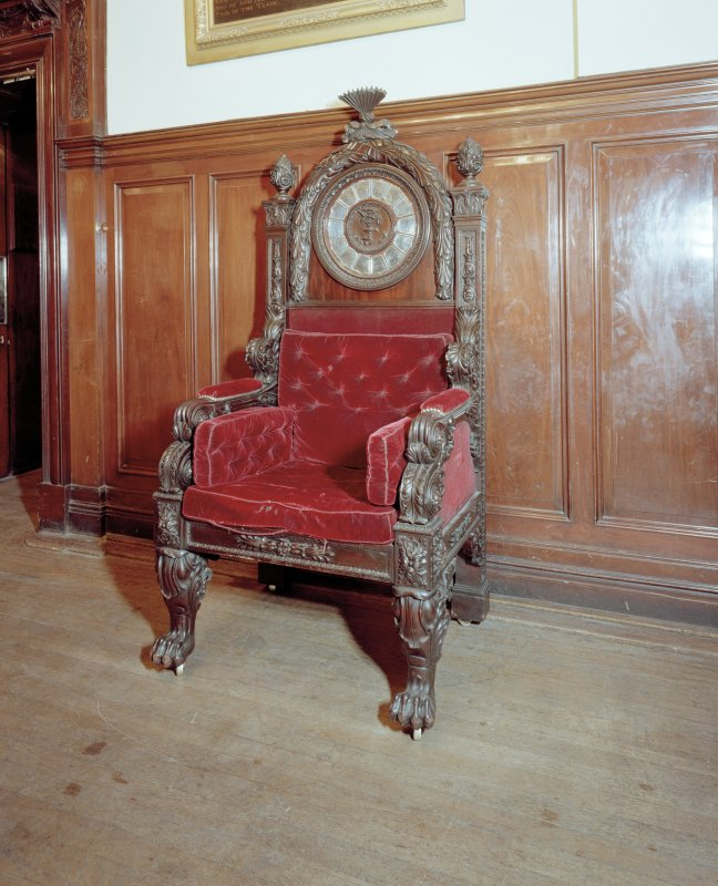 Trades House, interior Banqueting Hall, detail of chair