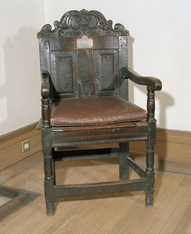 Interior, ground floor, reception room, view of oak chair of the maltmen