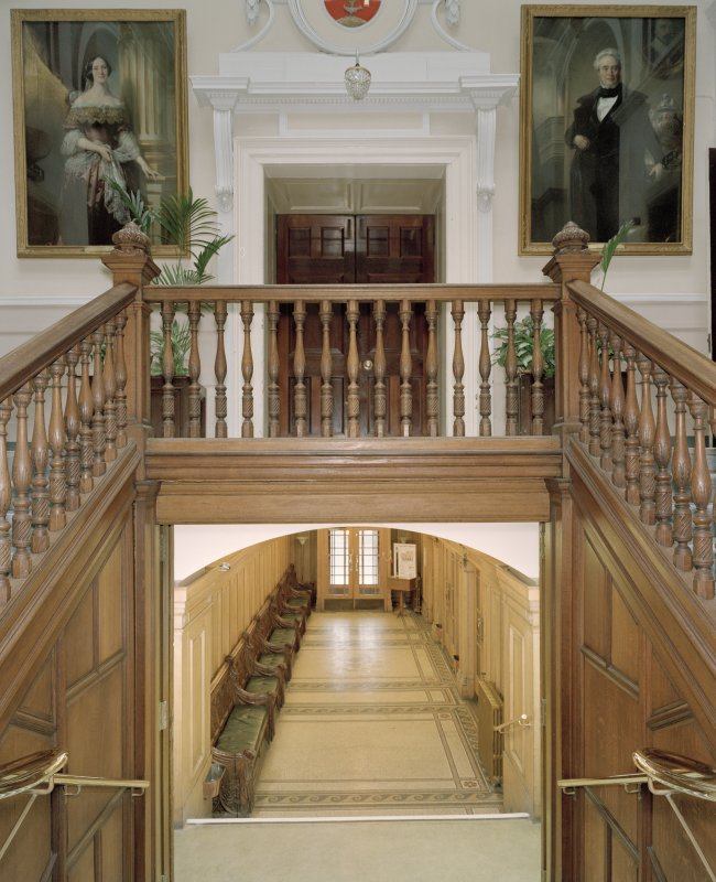 Interior, main staircase, view from half landing to north