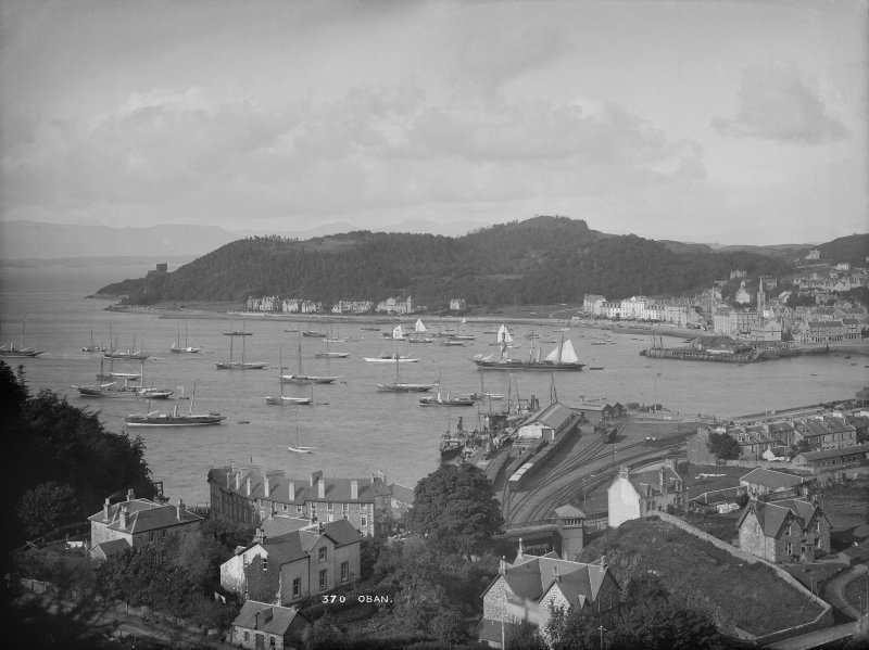 View of Oban from a high vantage point, looking down over the bay.