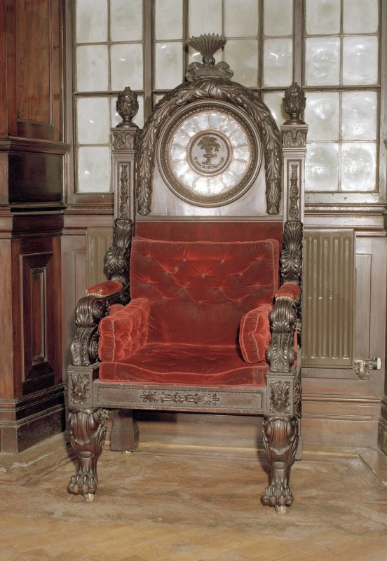Interior, 1st floor, saloon, view of carved chair